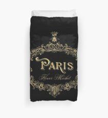 Paris Flower Market, typography, gold queen bee Duvet Cover