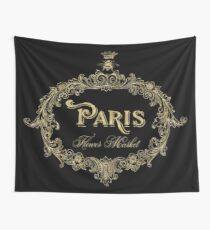 Paris Flower Market Typography Gold Queen Bee Wall Tapestry