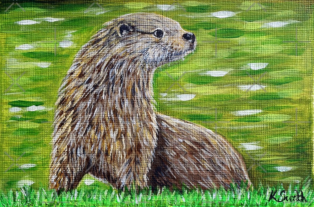 Otter on a River Bank Painting by Kirsten Sneath