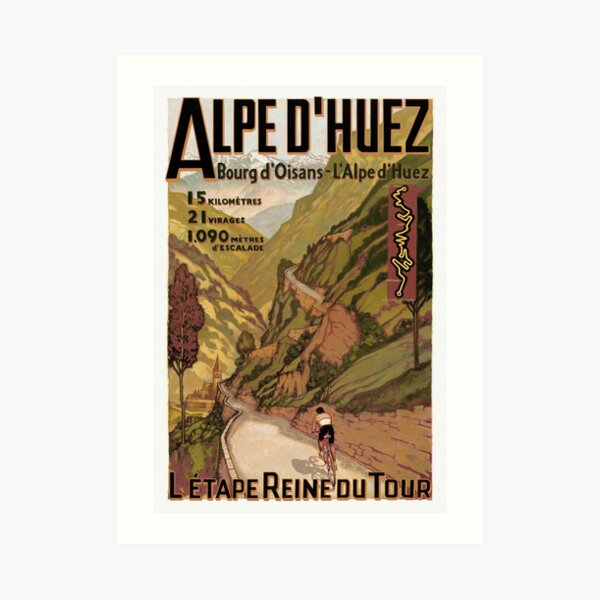Vintage French Swiss Alps sport bicycle poster Art Print
