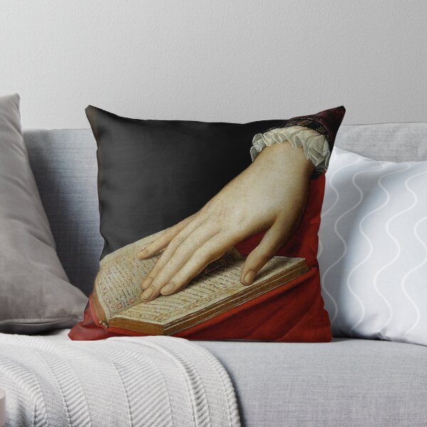Renaissance old master cropped image, hand on book Throw Pillow