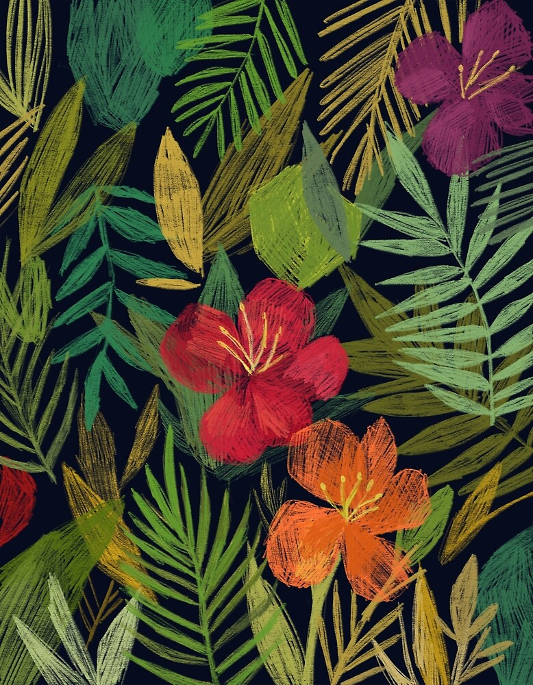 Tropical Flowers and Leaves by lilyluuk