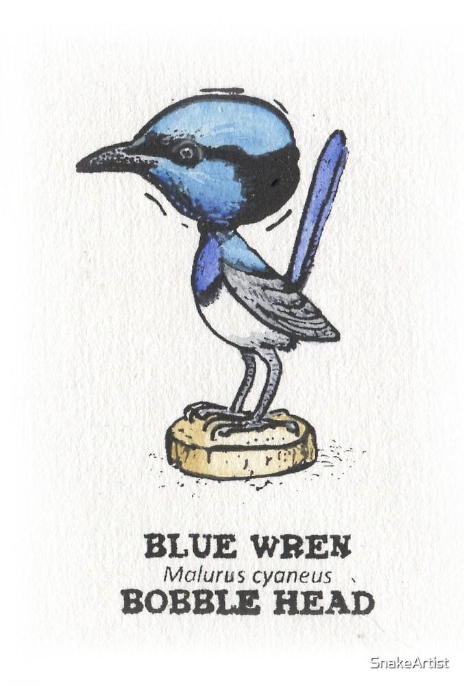 Blue Wren Bobble Head by SnakeArtist