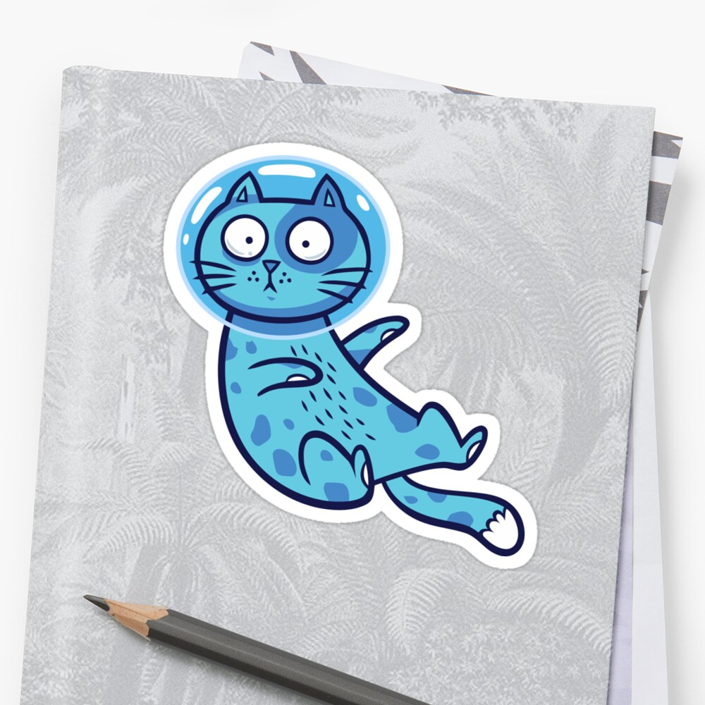 Blue Space Cato Sticker Front