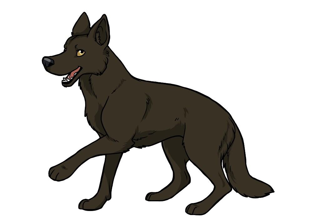 German shepherd dog (black) by KiwiJP