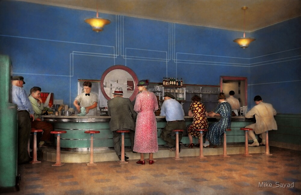 Cafe - The half way point 1938 by Michael Savad