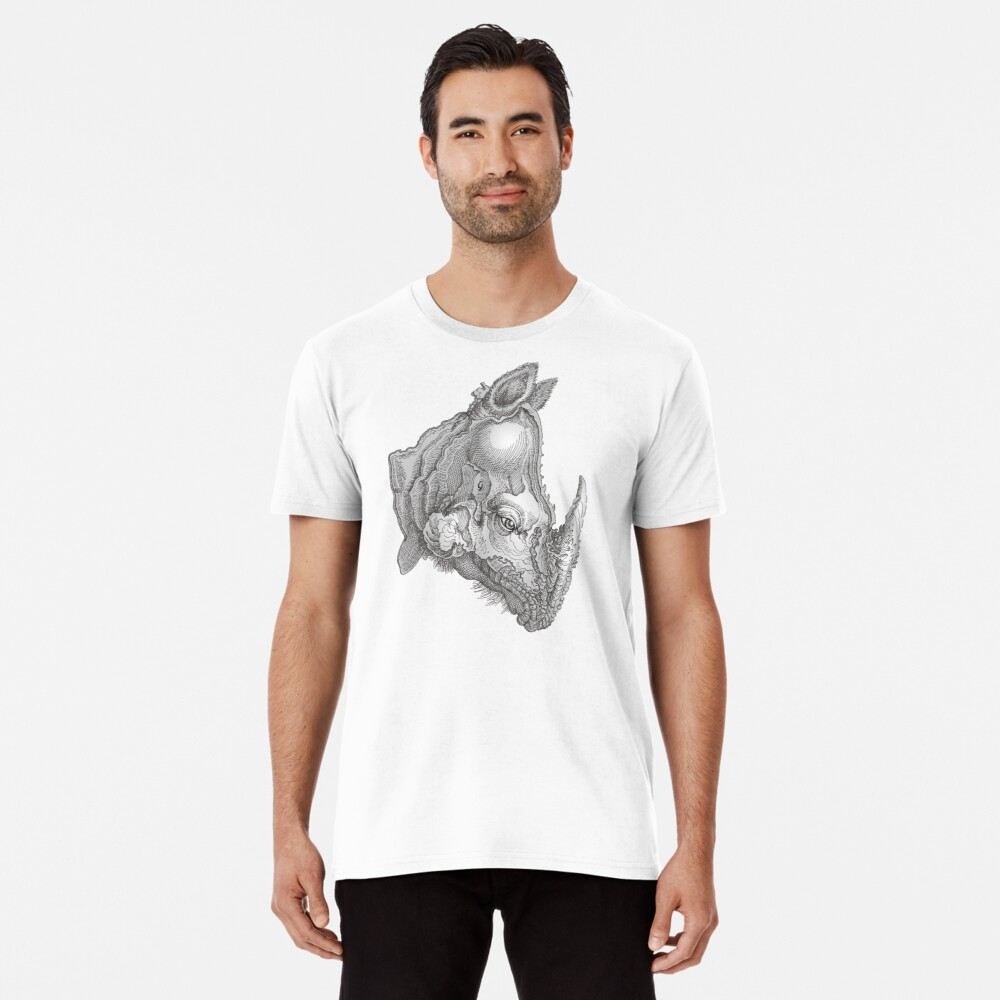 Rhinoseros Head Men's Premium T-Shirt Front
