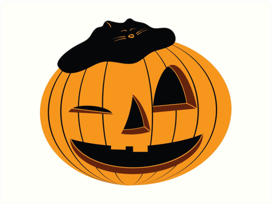 The Halloween Pumpkin with Cat on the Head. by ggrigory
