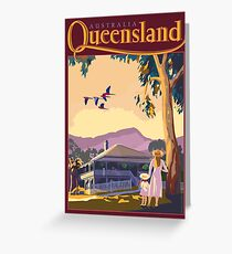 Art Deco Queensland with Queenslander House Greeting Card