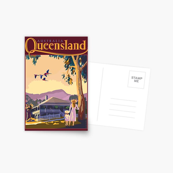 Art Deco Queensland with Queenslander House Postcard