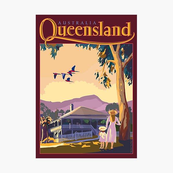 Art Deco Queensland with Queenslander House Photographic Print