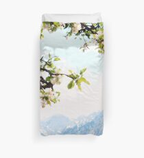 Apple Blossoms and Mountains  Duvet Cover