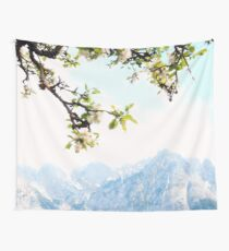 Apple Blossoms and Mountains  Wall Tapestry