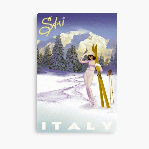Vintage Italian Ski sport poster, ski italy Canvas Print