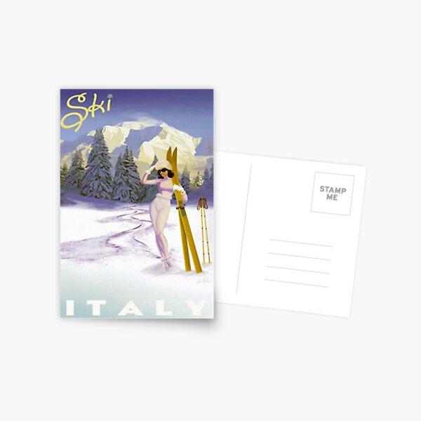 Vintage Italian Ski sport poster, ski italy Postcard