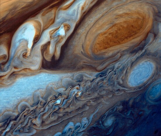 Closeup of the great red spot on Jupiter, space exploration by Glimmersmith