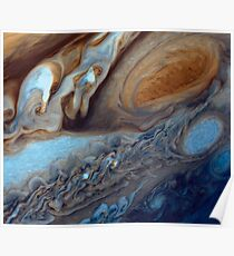 Closeup of the great red spot on Jupiter, space exploration Poster