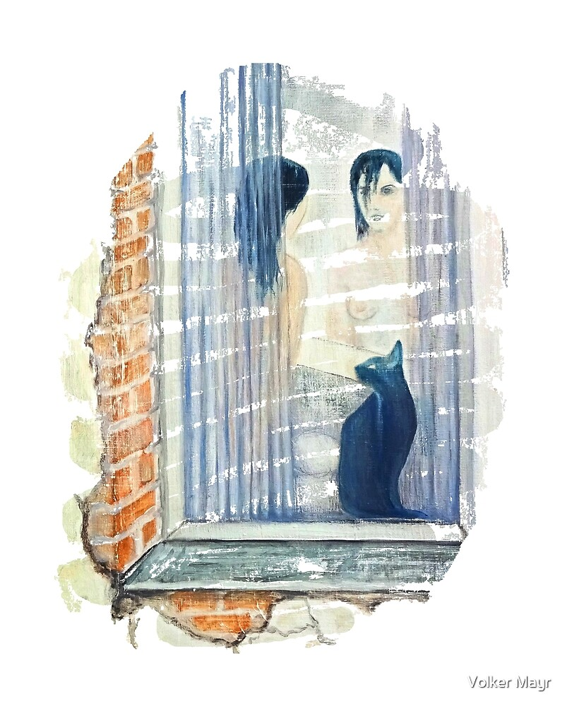 Cat by the window - woman in front of the mirror by Volker Mayr
