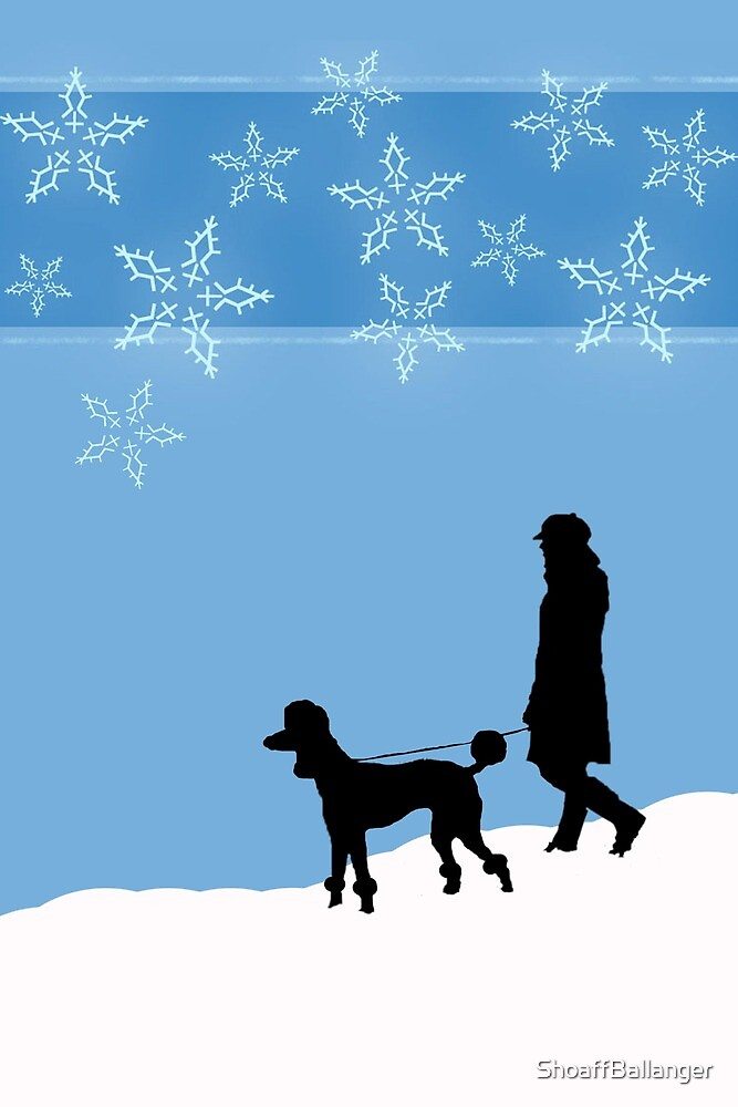 Walking a Dog in the Snow, Christmas Poodle by ShoaffBallanger
