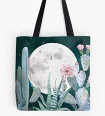 Cactus Nights Pretty Pink and Blue Desert Stars Cacti Illustration Tote Bag