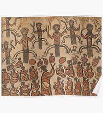 Wurundjeri People Charcoal Drawing by Australian William Barak Poster