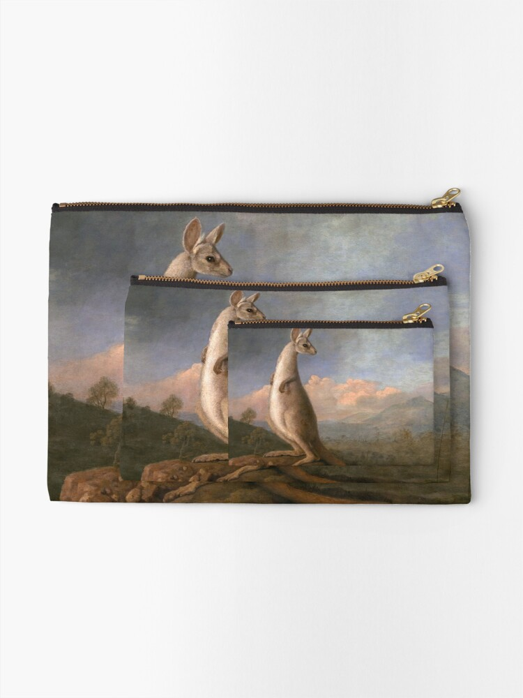 Alternate view of The Kongouro Oil Painting by Australian Artist George Stubbs Zipper Pouch