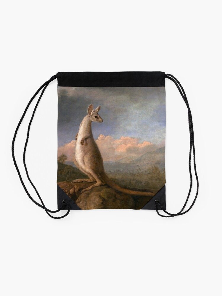 Alternate view of The Kongouro Oil Painting by Australian Artist George Stubbs Drawstring Bag