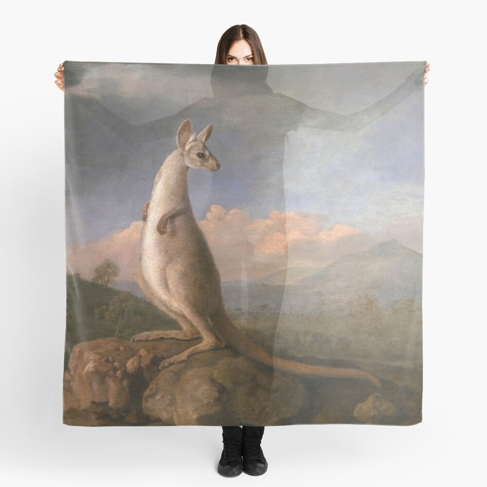 The Kongouro Oil Painting by Australian Artist George Stubbs Scarf