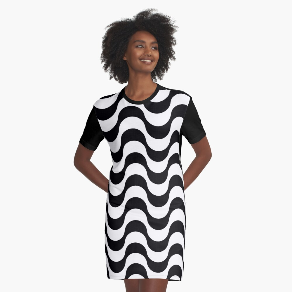 Black and White Waves Graphic T-Shirt Dress Front