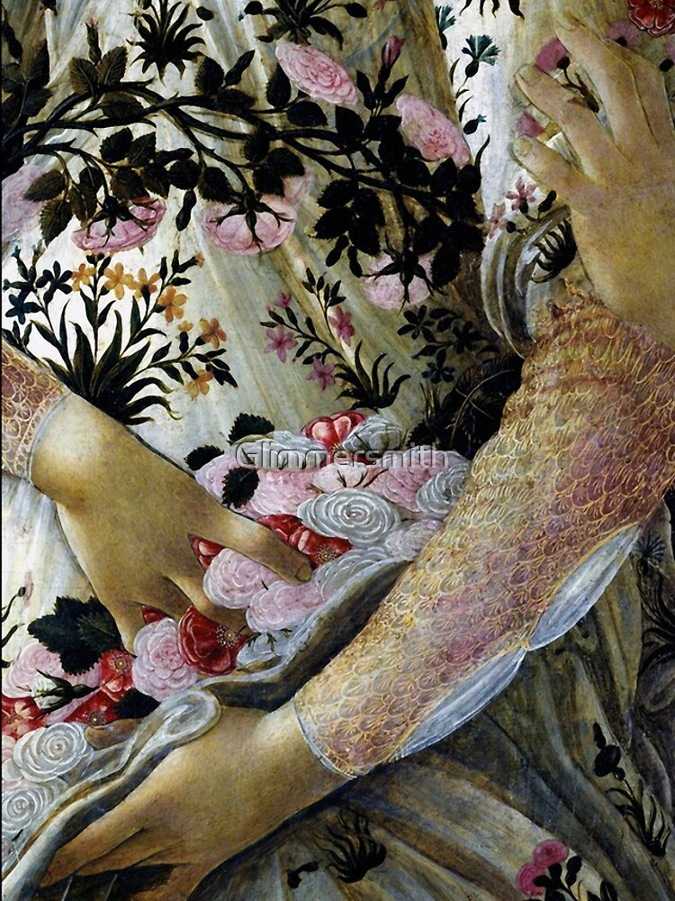 Botticelli Primavera closeup vintage painting by Glimmersmith