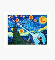 Van Gogh -ku / Goku Vs. Vegeta Dragon Ball Z Starry Night Art Print