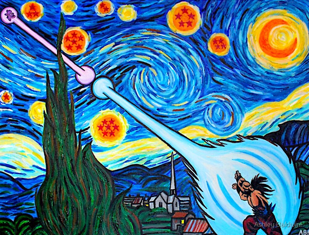 Van Gogh -ku / Goku Vs. Vegeta Dragon Ball Z Starry Night by Ashley Baldwin!