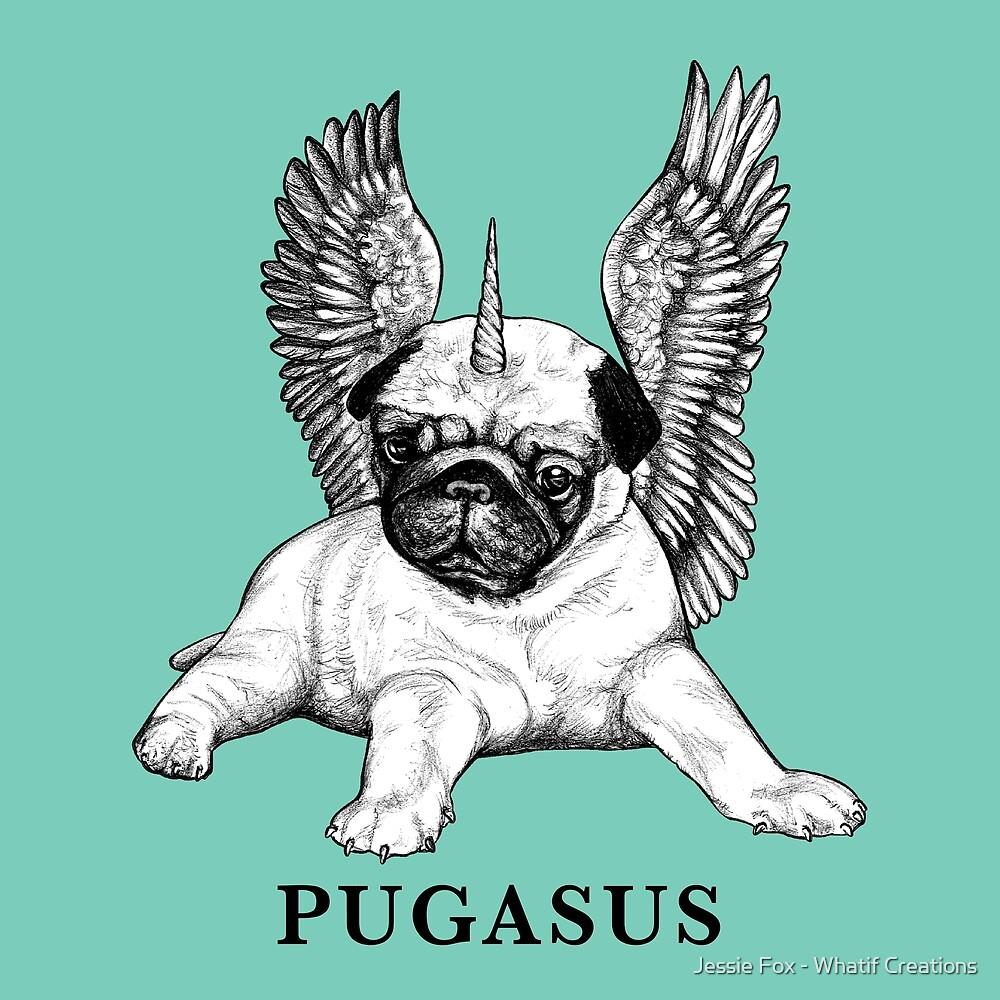 Pugasus, Pug + Pegasus Hybrid Animal by Jessie Fox - Whatif Creations