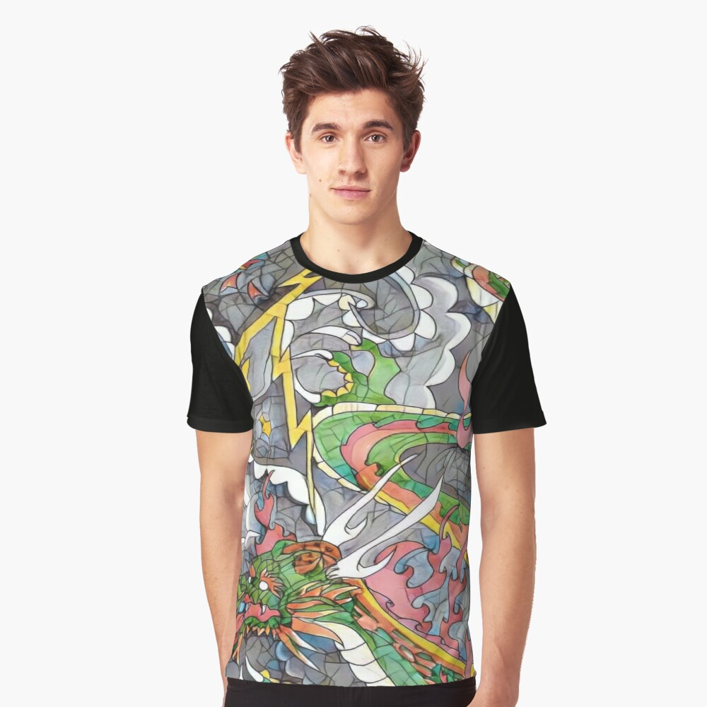 Dragon fire print  Graphic T-Shirt Front