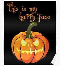 Jack-o-Lantern (Happy face BLACK) Poster