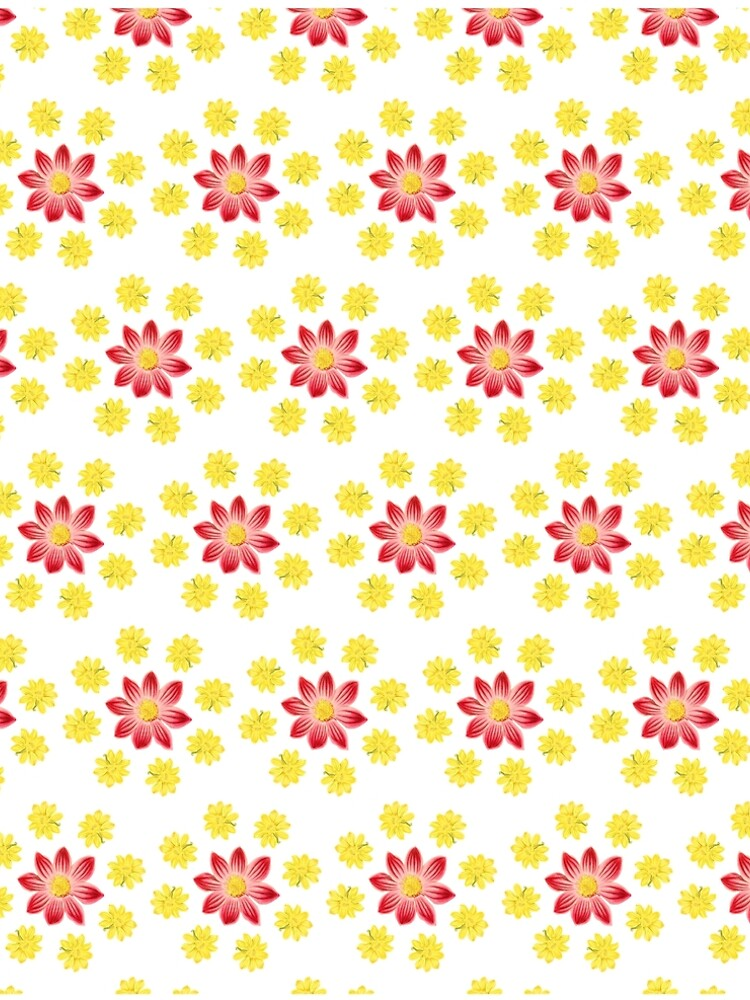Red and Yellow Flowers Pattern by allovervintage