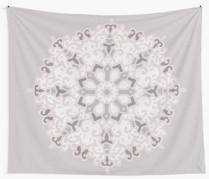 Grey and blush pink - soft mandala by peggieprints