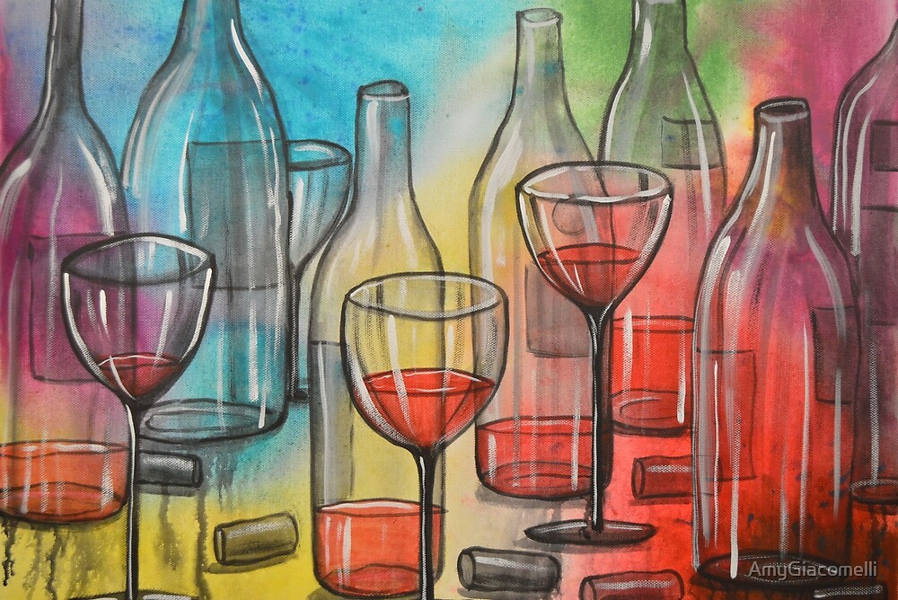 Abstract wine art / Friday Night by AmyGiacomelli