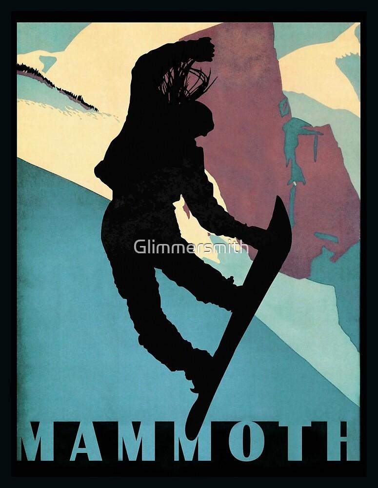 Snowboarding Betty at Mammoth, winter sport travel art by Glimmersmith