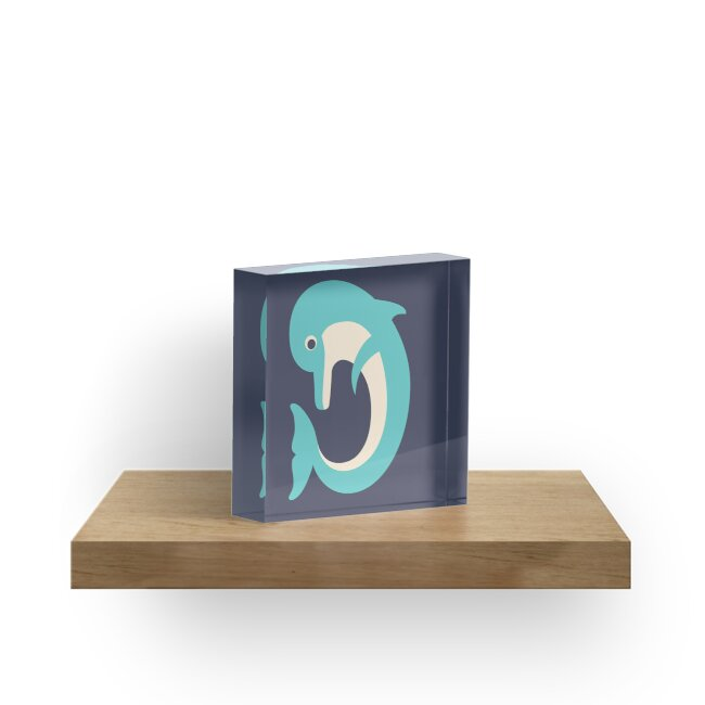 Letter D // Animal Alphabet // Dolphin Monogram by Jen Montgomery