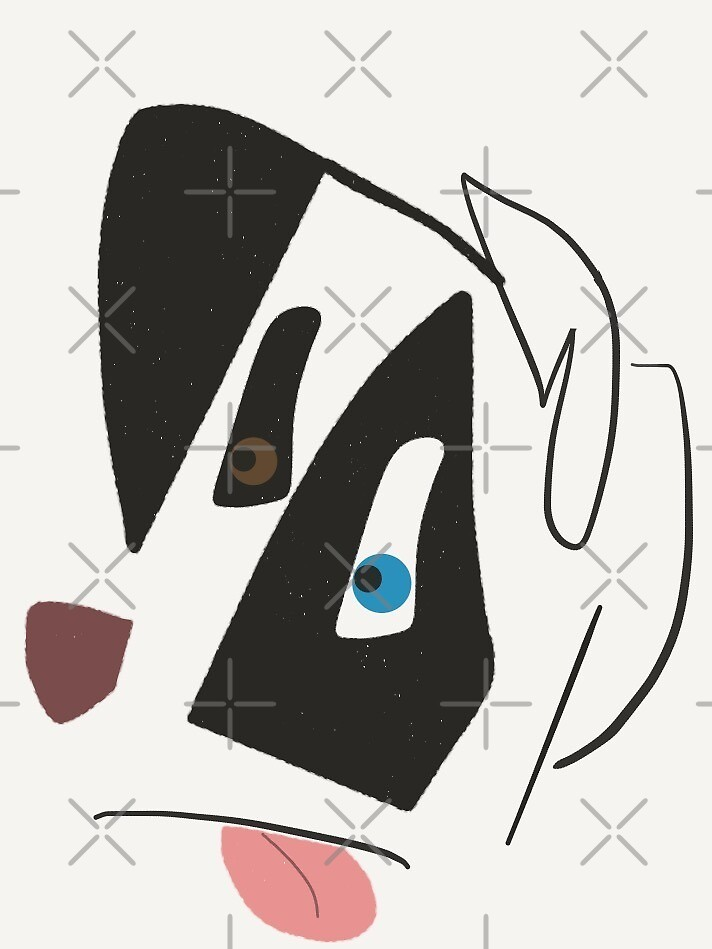 Caricature Border Collie Head Outline by Rustically