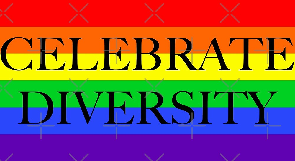 Large Pride Flag with Celebrate Diversity by litmusician