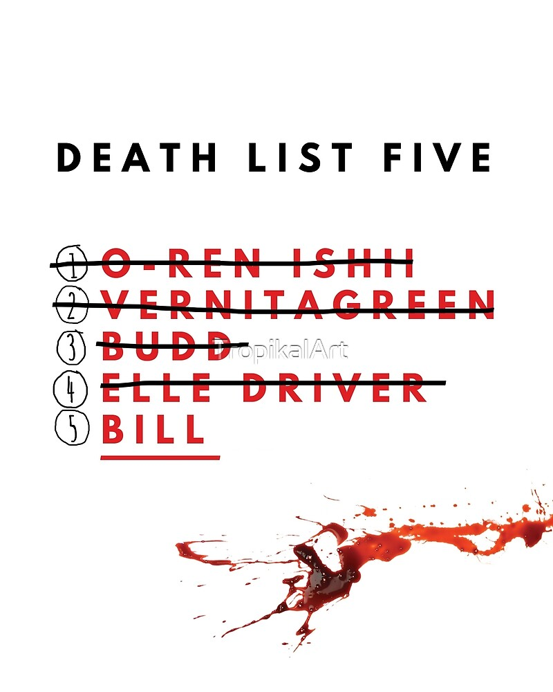Kill Bill- Death List  by TropikalArt