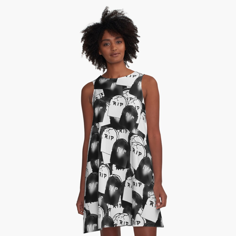 Black and White Tombstones A-Line Dress Front