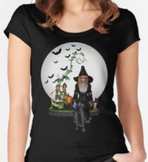 Zombie Witch Halloween Night Women's Fitted Scoop T-Shirt
