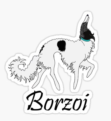 Black White Brindle Borzoi  Sticker