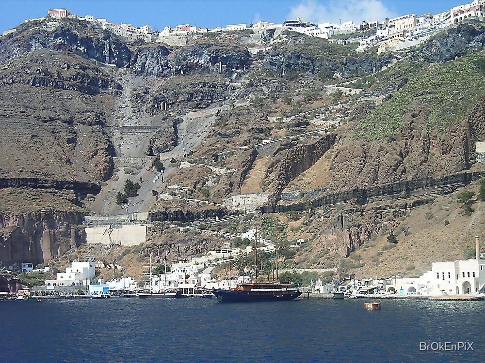 Looking Down from Santorini by BrOkEnPiX