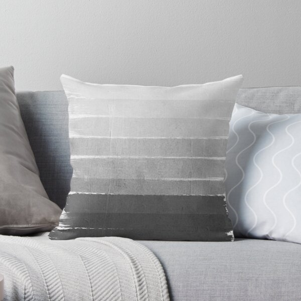 Brushstroke - Ombre Grey, Charcoal, minimal, Monochrome, black and white, trendy,  painterly art  Throw Pillow