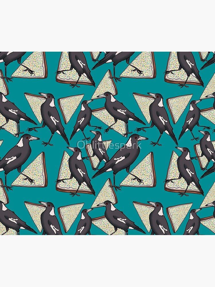 Magpies and Fairy Bread - Teal by Ohlittlespark
