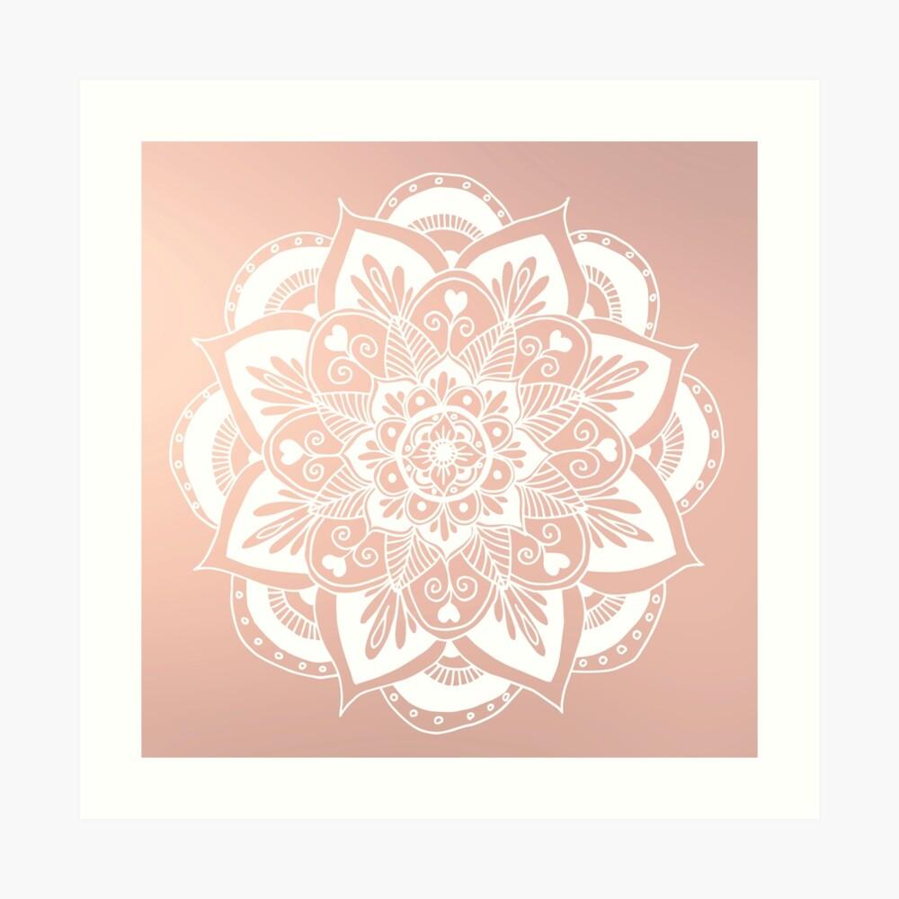 Blumenmandala auf Rosengold Kunstdruck